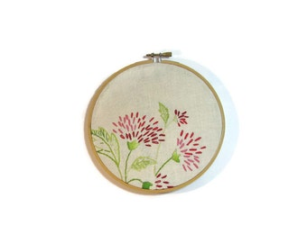 Large vintage embroidered linen wall art  pink red floral  off white
