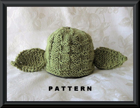 Knitting Pattern Baby Yoda Hat : Yoda Baby Hat Knitting PatternChildren by CottonPickings ...