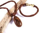 Bronzite Kumihimo Waxed Linen Necklace and Bracelet Set
