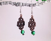 Green Tiger Eye Chocolate Brown Macramé Earrings