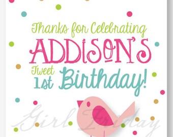 Tweet First Birthday Favor Cards