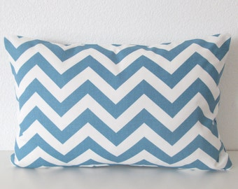 Blue decorative pillow cover - lumbar pillow cover -   blue and white chevron accent pillow cover