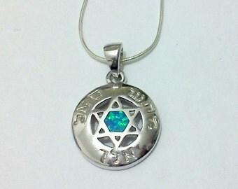 kaballah star of David protection silver opal necklace