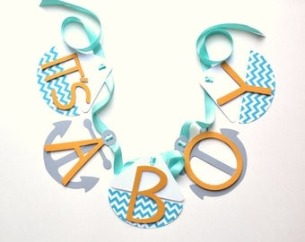 Nautical baby shower decorations it's a boy banner chevron blue and orange by ParkersPrints on Etsy
