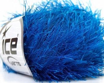 blue eyelash yarn bulky chunky 50gr polyester ice yarns usa light blue fancy fur craft rug 1 skein ships from usa at usps cost 22780