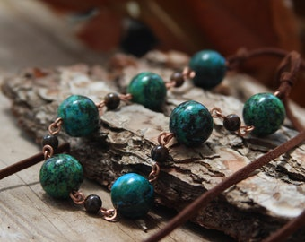 Big chrysocolla Boho necklace, Chain Links Boho necklace.