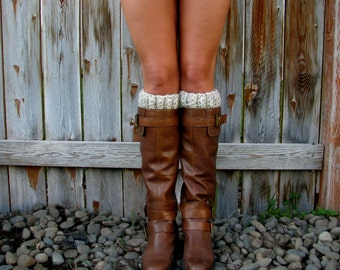 Lamb's Wool Wheat Chunky Thick Crochet Boot Cuff, Topper, Peep Socks, Faux Leg Warmers Accessory Knit Band Fashion Girl Woman Boy Men