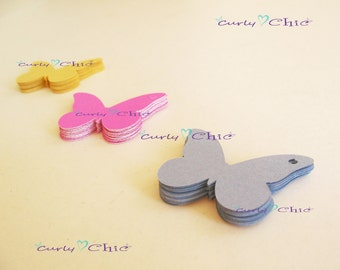 """105 Butterfly Tags Size 2"""" -Mix and match any color Set """"Choose your colors"""" in Non-textured or Textured Cardstock"""