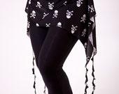 Hip Drape/Skirt/Belt/Scarf/Wrap - Jolly Roger Skull & Crossbones White on Black