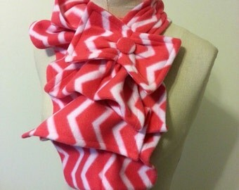 Ruffled Bow Scarf - Fleece chevron print coral-pink and white -  Made-to-order