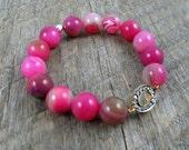 Pave Diamond Bracelet, Pink Beaded Bracelet, Agate Bracelet, Sterling Silver, Stretch Bracelet