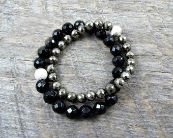 Black Onyx Bracelet, Gemstone Bracelet, Black Beaded Bracelet, Silver Stretch Bracelet, Boho, Stacking Bracelet - Phoebe