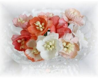 Shades of Orange Cherry Blossoms~ Set of 10 for Scrapbooking, Cardmaking, Altered Art, Wedding, Mini Album