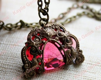 Pink Romance - Victorian Style Filigree Wrapped Rose Glass Jewel Necklace in Antique Brass Finish