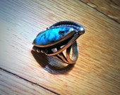 Vintage Silver and Genuine Turquoise Ring FREE SHIPPING
