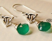 Sterling Silver Trinity Knot Green Onyx  Drop Earrings,  Celtic, Wire Wrapped Irish