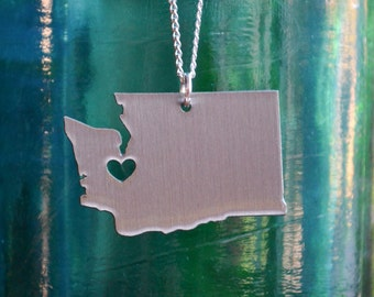 Olympia Washington Love Pendant On 18inch Sterling Silver Chain