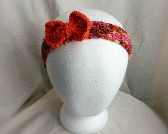 Hair bow Crochet head band Cotton Spring colors orange pink brown Teen girls hair band