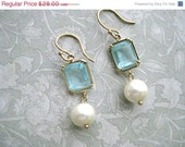 On Sale Aquamarine Gold Pearl Earrings - Bride Wedding Bridal Jewelry