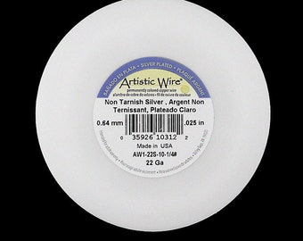 22 gauge non-tarnish silver plated artistic wire, 1/4 lb. spool