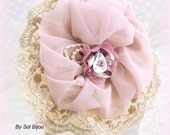 Toss Bouquet, Ivory, Blush, Dusty Rose, Tan, Champagne, Bridesmaid Bouquet, Maid of Honor, Fabric, Chiffon, Lace, Tulle, Vintage Style