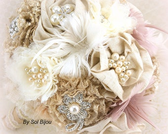 Beige Brooch Bouquet, Ivory, Tan, Champagne, Blush, Feathers, Linen, Burlap, Lace, Pearls, Crystals, Shabby Chic, Rustic, Vintage Style