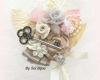 Brooch Boutonniere, Pink, Tan, Gray, Ivory, Corsage, Button Hole, Groom, Groomsmen, Mother of the Bride, Key, Pearls, Crystals, Elegant