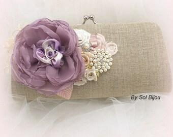 Linen Clutch, Lilac, Rose, Blush, Champagne, Ivory, Elegant Wedding, Bridal, Handbag, Purse, Rustic, Pearls, Brooch, Vintage Style