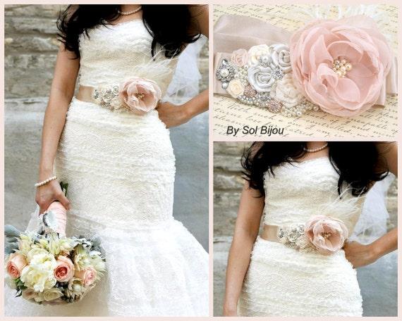 Sash, Blush, Rose, Dusty Rose, Ivory, Tan, Champagne, Cream, Bridal Sash, Elegant Wedding, Vintage Style, Ostrich Feathers, Pearls, Lace