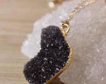 50% OFF SALE - Free Form Black Druzy Necklace - Black Druzy Jewelry - 14K GF, Choose Your Stone