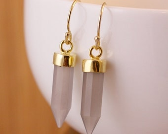 Grey Chalcedony Point Earrings - Spike Earrings - Grey Point Earrings