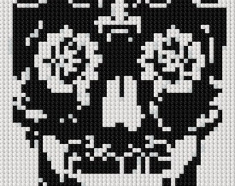 Simple Sugar Skull Day of the Dead Cross Stitch Pattern - instant delivery digital download