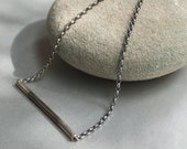 Oxidized tubular pendant on a thick sterling silver chain. Everyday simple, modern and minimal necklace.