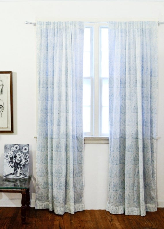 window curtains Blue Toile Curtains cotton window curtain panels ...