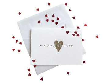 Confetti You Have My Heart letterpress card - single