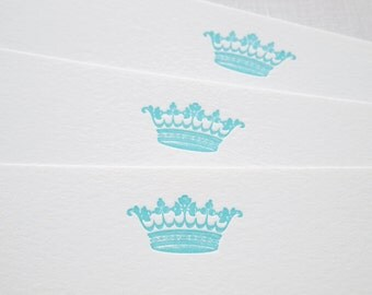 Crown Letterpress Stationery - Set of 6 Flat Notes