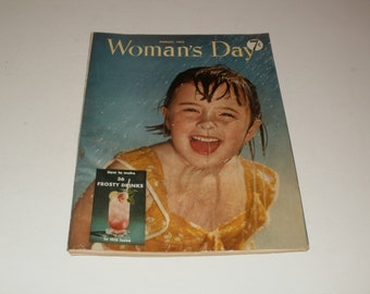 vintage Womans Day, August 1952, vintage collectible, magazine, vintage ads, art, recipes, crafts, scrapbooking,ephemera,articles