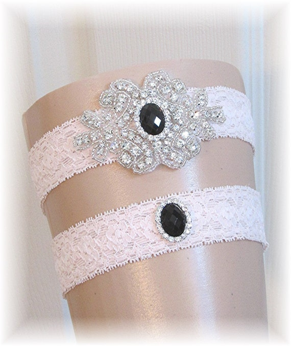Couture Garters For Wedding: Couture Blush Pink And Black Wedding Garter Set By