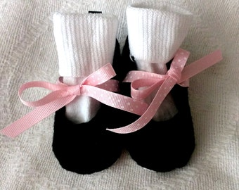 Baby Girl Shoes - Infant Shoes - Black and Pink Baby Mary Janes