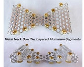 """Metal Neck Bow Tie, Layered Aluminum Segments, Perforated 3/16"""" (5 mm) Holes"""