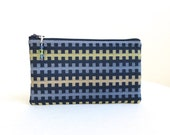 Navy Clutch / Zipper Bag / Lime Green and Tan - READY TO SHIP