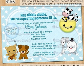 Nursery Rhyme Baby Shower Invitations / hey diddle diddle cow jumped over the moon cat dog dish / DIGITAL INVITATION / Design#: ISNU-0146A
