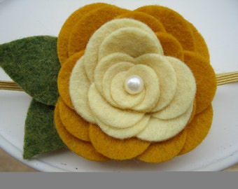 Mustard Yellow Felt Flower Rose Headband