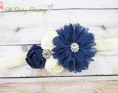 Navy Blue and Ivory Headband, Satin & Chiffon Flowers w/ Rhinestones Headband or Barrette, Flower Girl Headband, Baby Child Girls Headband
