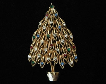 Vintage Christmas Tree Brooch, 1970's