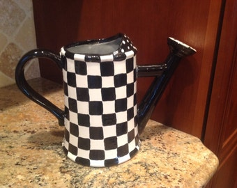 Ceramic clay black and white checks watering can