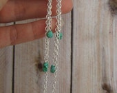 Tiny Turquoise Nugget Chain Earrings, Long chain earrings, natural turquoise