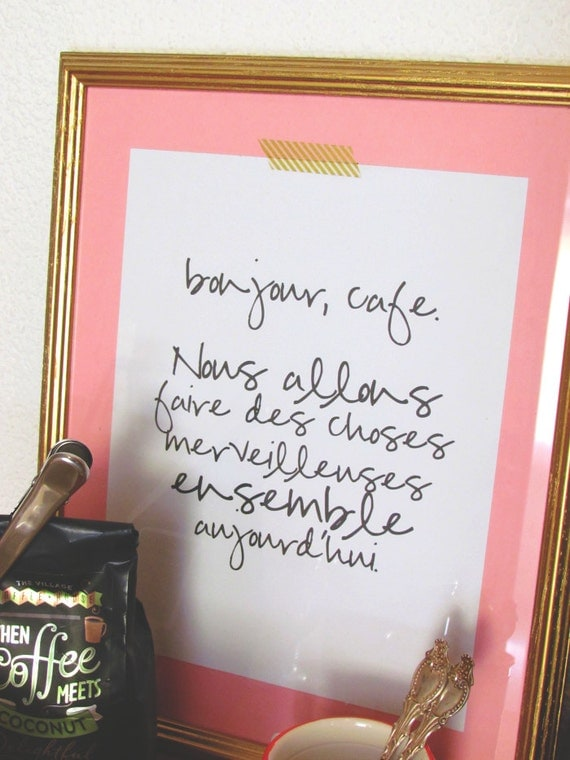 PRINTABLE TYPOGRAPHY ART print bonjour cafe hello coffee french paris coffee art printable bar cart instant gallery coffee lover