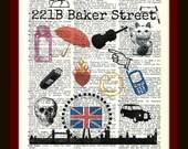 Buy Any 2 Prints get 1 Free 221B Baker Street  Sherlock Holmes Collage Vintage Dictionary Art