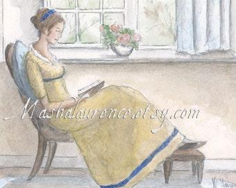 Accomplished Woman.  Art print. 5x7 inches.  Pride and Prejudice.  Jane Austen art.